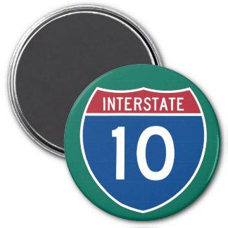 Interstate 10 (I-10) Highway Sign 3 Inch Round Magnet
