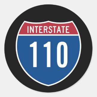 Interstate 110 classic round sticker