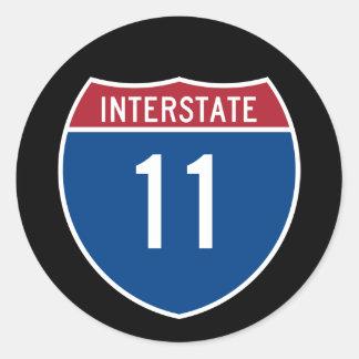 Interstate 11 classic round sticker