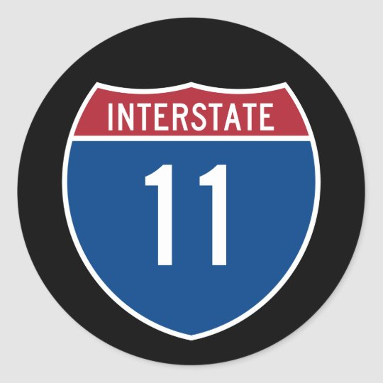Interstate 11 classic round sticker