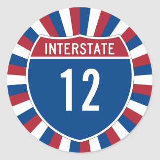 Interstate 12 classic round sticker