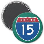 Interstate 15 (I-15) Highway Sign 3 Inch Round Magnet