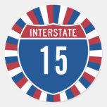 Interstate 15 round stickers