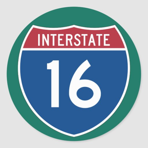 Interstate 16 (I-16) Highway Sign (pack of 6/20) Classic Round Sticker