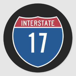 Interstate 17 classic round sticker