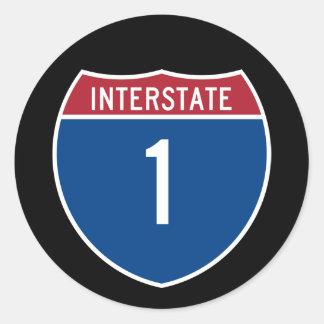 Interstate 1 classic round sticker