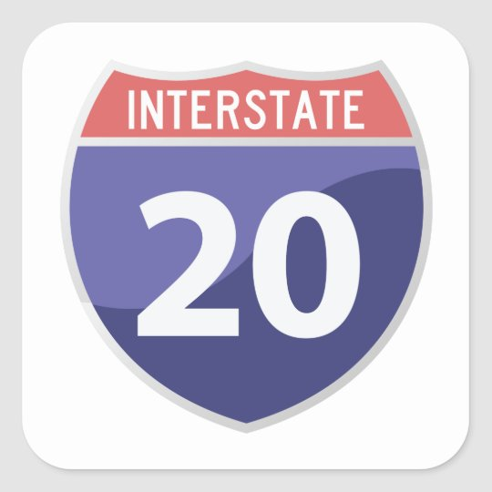 Interstate 20 (I-20) Road Trip Travel Sticker