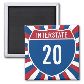 Interstate 20 2 inch square magnet
