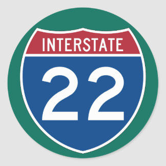 Interstate 22 (I-22) Highway Sign  (pack of 6/20) Classic Round Sticker
