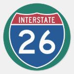 Interstate 26 (I-26) Highway Sign  (pack of 6/20) Round Sticker