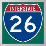 Interstate 26 (I-26) Highway Sign Poster