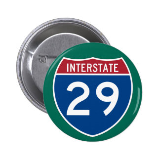 Interstate 29 I-29 Highway Sign Pinback Buttons