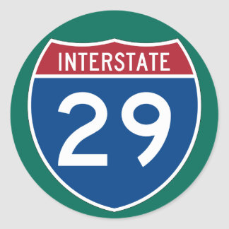 Interstate 29 (I-29) Highway Sign (pack of 6/20) Classic Round Sticker