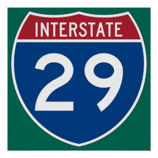 Interstate 29 (I-29) Highway Sign Poster