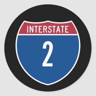 Interstate 2 classic round sticker