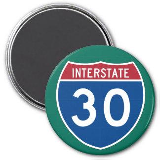 Interstate 30 (I-30) Highway Sign 3 Inch Round Magnet