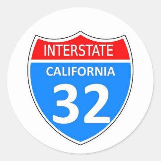 Interstate 32 classic round sticker
