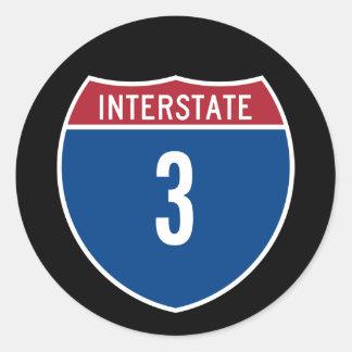 Interstate 3 classic round sticker