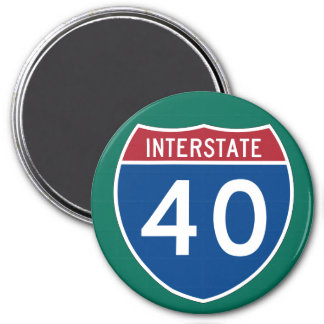 Interstate 40 (I-40) Highway Sign 3 Inch Round Magnet