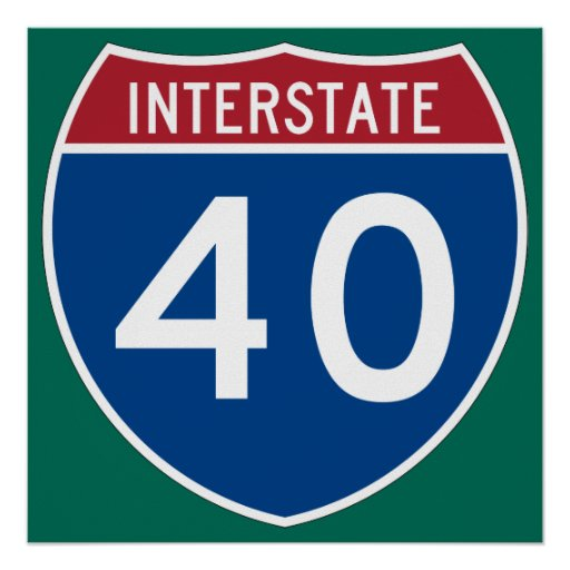 Interstate 40 (I-40) Highway Sign Posters
