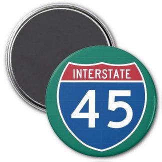 Interstate 45 (I-45) Highway Sign 3 Inch Round Magnet