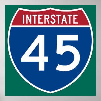 Interstate 45 (I-45) Highway Sign Print