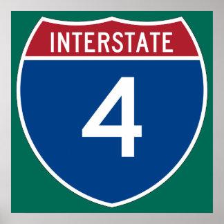 Interstate 4 (I-4) Highway Sign Poster