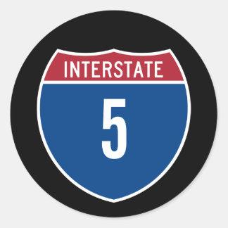 Interstate 5 classic round sticker
