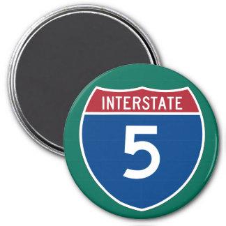 Interstate 5 (I-5) Highway Sign 3 Inch Round Magnet