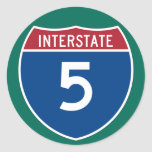 Interstate 5 (I-5) Highway Sign (pack of 6/20) Classic Round Sticker