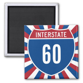 Interstate 60 2 inch square magnet