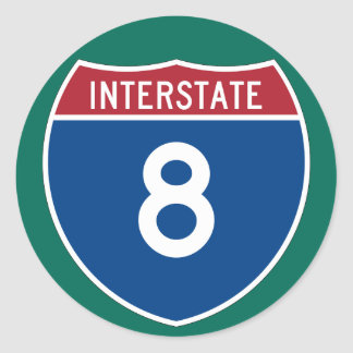 Interstate 8 (I-8) Highway Sign (pack of 6/20) Classic Round Sticker
