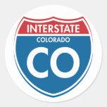 Interstate Colorado CO Round Stickers