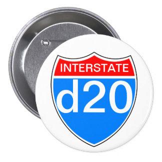 Interstate d20 pinback button