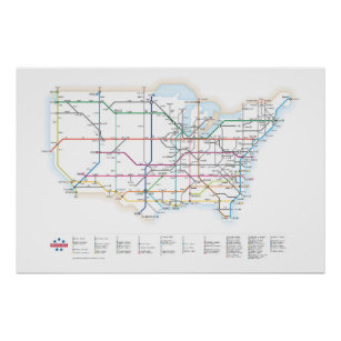 Interstate Highways as a Subway Map Poster