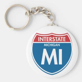 Interstate Michigan MI Keychain