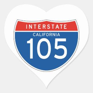 Interstate Sign 105 - California Heart Sticker