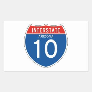 Interstate Sign 10 - Arizona Rectangular Sticker