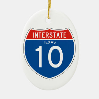 Interstate Sign 10 - Texas Double-Sided Oval Ceramic Christmas Ornament