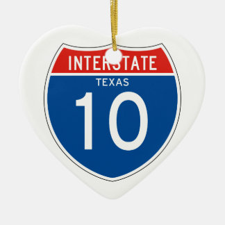 Interstate Sign 10 - Texas Double-Sided Heart Ceramic Christmas Ornament