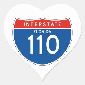 Interstate Sign 110 - Florida Heart Sticker