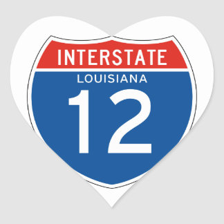 Interstate Sign 12 - Louisiana Heart Sticker