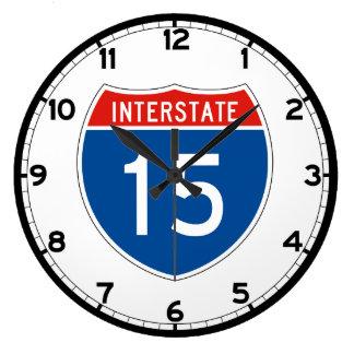Interstate Sign 15 Large Clock