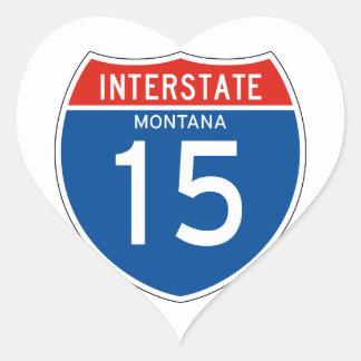 Interstate Sign 15 - Montana Heart Sticker