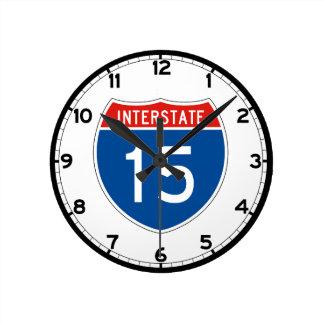 Interstate Sign 15 Round Clock