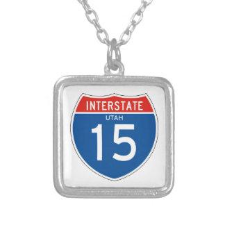 Interstate Sign 15 - Utah Square Pendant Necklace