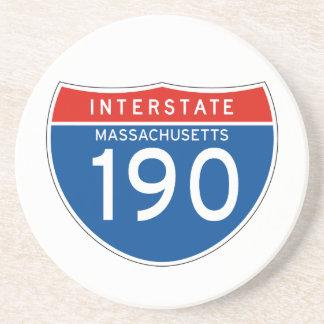 Interstate Sign 190 - Massachusetts Drink Coasters