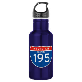Interstate Sign 195 - Florida 18oz Water Bottle