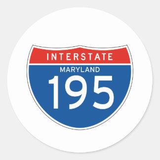 Interstate Sign 195 - Maryland Classic Round Sticker