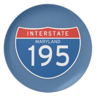 Interstate Sign 195 - Maryland Melamine Plate
